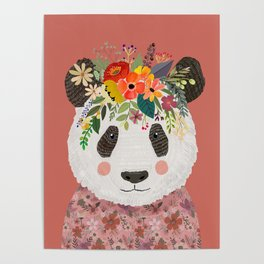 Cut Panda Bear with flower crown. Cute decor for kids Poster