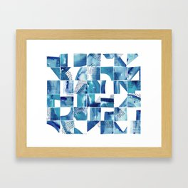 Blue Watercolor Typographical Fragments Cheater Quilt Framed Art Print