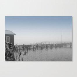 Fog on jetty Canvas Print