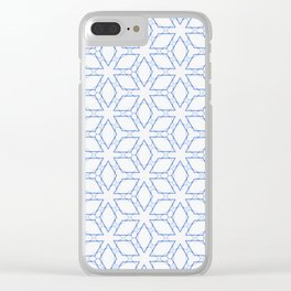 White and Blue Minimualist Pattern Clear iPhone Case