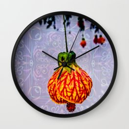 Stained glass and flower pendant Wall Clock