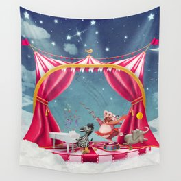 Illustration of cute circus  animals on stage in sky - illustration art  Wall Tapestry