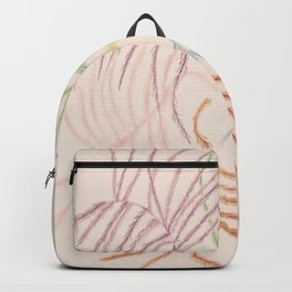 Pastel Coloured Feather Print Backpack