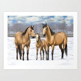 Buckskin Quarter Horses In Snow Art Print
