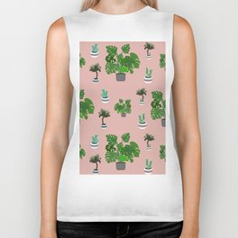 Monstera, yucca and cacti pattern Biker Tank