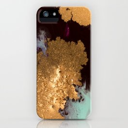 Abstract Pour Painting Liquid Marble Black Pastel Blue Painting Gold Accent iPhone Case