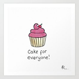 Original Watercolour and Ink Cake for Everyone Illustration Art Print