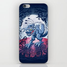 Werewolf Scratching Spooky Fleas iPhone Skin