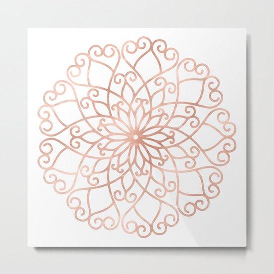 Mandala Rose Gold Pink Flower Metal Print