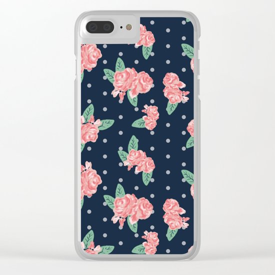 Brooklin - Navy dots floral bouquet minimal boho abstract flowers Clear iPhone Case