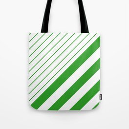 Green And White Stripes Pattern Tote Bag