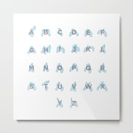 NZ Sign Language Alphabet Metal Print