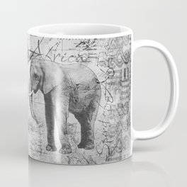 African Spirit Vintage Elephant black white Coffee Mug