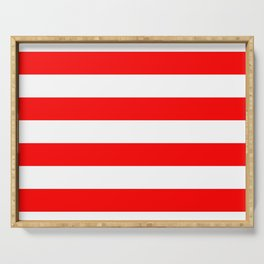 Australian Flag Red and White Wide Horizontal Cabana Tent Stripe Serving Tray