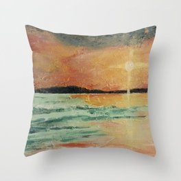Amy's Sunset - Beach Painting Throw Pillow