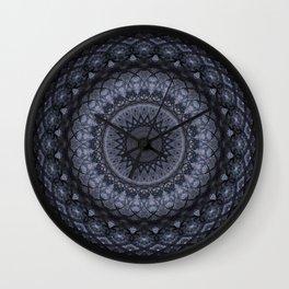 Dark gray mandala Wall Clock