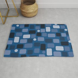 Small rectangles classic blue Rug