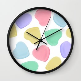 Candy Conversation Hearts Pattern Wall Clock