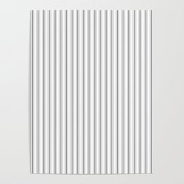 Mattress Ticking Narrow Striped Pattern in Charcoal Grey and White Poster