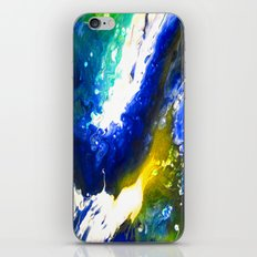 Abstract Art Drip Painting Blue, White ,Yellow iPhone & iPod Skin