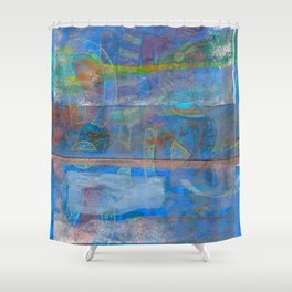 Mid-To-Late Century Blues Shower Curtain