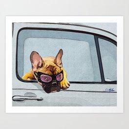 Fun Frenchie Rider Art Print
