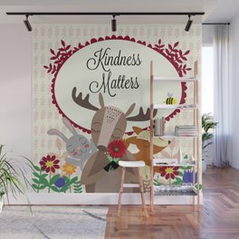 Woodland Animals, Kindness Matters Wall Mural