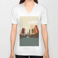 austin V-neck T-shirts featuring Austin Skyline by Kurtis Beavers