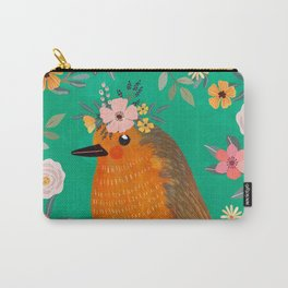 Robin Bird with flowers Carry-All Pouch