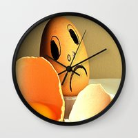 eggs Wall Clocks featuring eggs by  Agostino Lo Coco