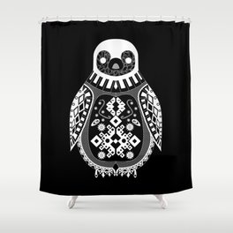 Black Penguin Ecopop Shower Curtain