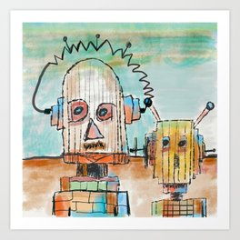 """Two Robot Dudes waiting for a Spaceship to go To Thompsonville near the AZ Strip"" Art Print"
