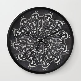 Musical mandala on chalkboard Wall Clock