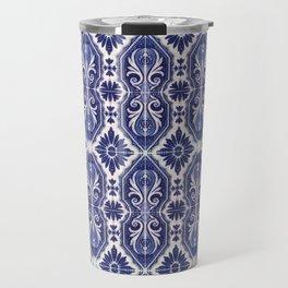 Portuguese Tiles Azulejos Blue White Pattern Travel Mug