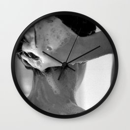 Woman Showering, 35mm Film, B&W Wall Clock