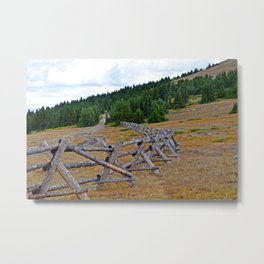 Fenceline in the fall Metal Print