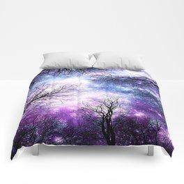Black Trees Violet Purple Blue Space Comforters