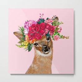 Rose Flower Crown Baby Deer in Pink Metal Print