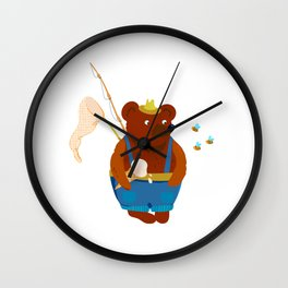 Bear summer resident with a fishing rod, ice cream and a landing net. Looks at the bees. Wall Clock