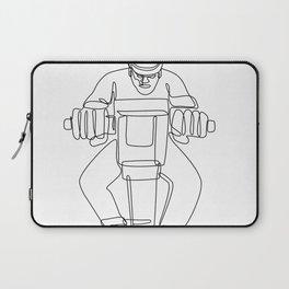 Construction Worker Jackhammer Continuous Line Laptop Sleeve