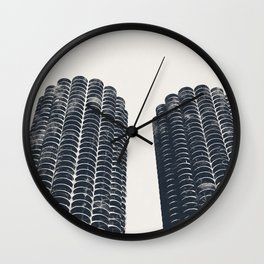 Chicago Architecture, Marina City, Chicago Wall Art, Chicago Art, Chicago Photography, Canvas Art Wall Clock