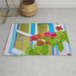 Colored Flowers in Front of Windows House Rug
