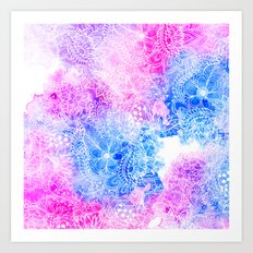 Bright hand drawn floral pink blue watercolor pattern Art Print