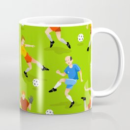 Vector seamless background with football players on green field Coffee Mug