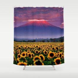 Sunflower fields at Mount Fuji, Japan at Sunset - Jéanpaul Ferro Shower Curtain