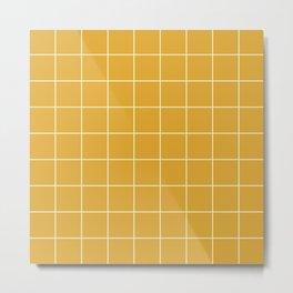 Yellow #9 Grid Stripe Lines Minimalist Geometric Line Stripes Metal Print