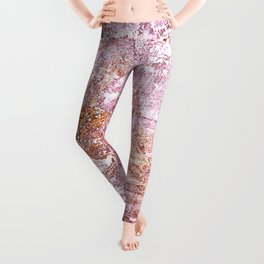 Abstract Autumn In Gold-Rosé Leggings