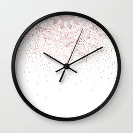 Elegant rose gold mandala confetti design Wall Clock