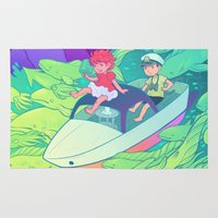 ponyo Area & Throw Rugs featuring Ponyo by Jen Bartel
