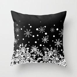 Snow Black Background Throw Pillow